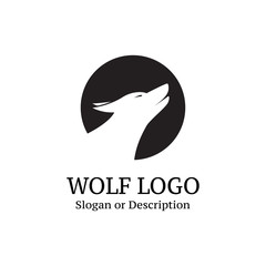 Wolf logo in black circle for company - Isolated Vector Illustration