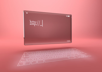 Tablet with Laser Keyboard in pink