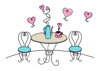 Table and chairs with hearts on white background
