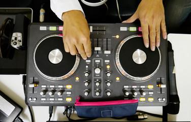 DJ mixes sound