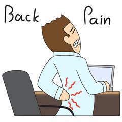 vector cartoon character back pain
