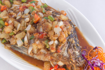 Deep Fired fish with spicy sauce