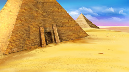 Egyptian pyramid with entrance.