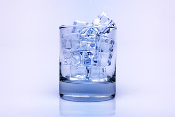 Ice cubes in glass vintage tone