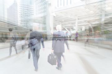 motion blur businessman walking to work