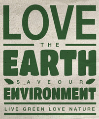 Love the earth with old fabric texture background