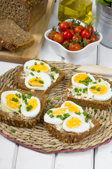 delicious sandwiches  of wholemeal bread with eggs and chives