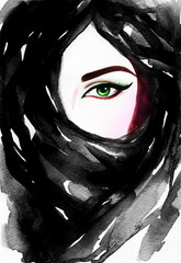 Beautiful woman face hiding her face behind a veil. watercolor illustration