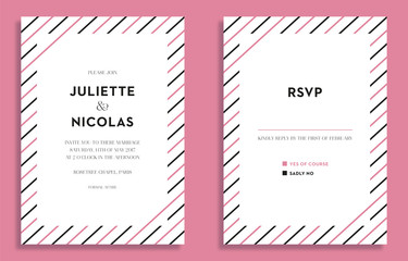 Wedding invitation and RSVP card with stripes. Vector design