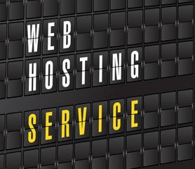 web hosting service concept sign. on airport board