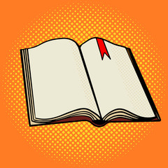 Open book pop art style vector
