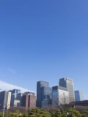 丸ノ内高層ビル街  大空 コピースペース