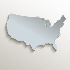USA map white blue card paper 3D raster