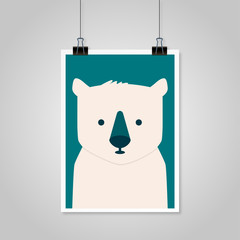 Bear hanging on a piece of paper gray background