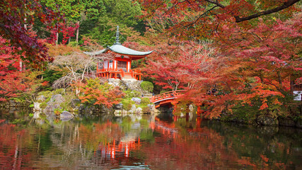 Daigoji temple with autumn maple trees