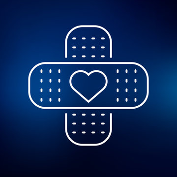 Bandage plaster icon with heart symbol line Vector illustration