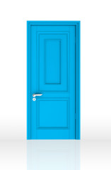 Blue Closed Door with Frame Isolated on Background