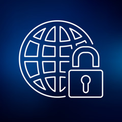 Secure internet icon. Globe with padlock sign. Secure globe symbol. Thin line icon on blue background. Vector illustration.