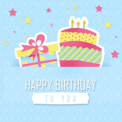 Blue birthday card - gift and cake