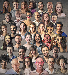 Mosaic of smiling people