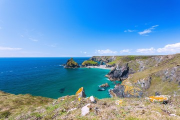 Fototapete - Cornwall, The Lizard, Kynance Cove, Gull Rock, Asparagus Island