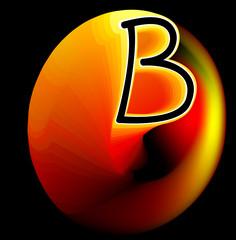 Sparkling fantasy Letter B on black background. Vector image.