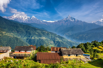 Village in the Himalaya mountains in Nepal Wall mural