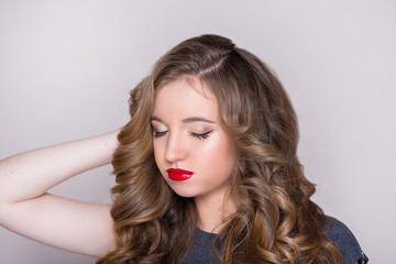 the beautiful girl with red lips