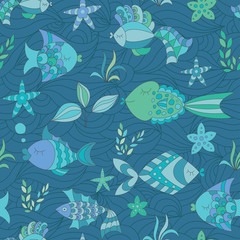 Marine Seamless Abstract Ornament with Fish and Plant.