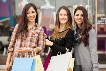 Beautiful women shopping together