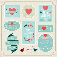 Valentines Day Decorations Vector Design Elements. Typographic elements, Symbols, Icons, Vintage Labels, Badges, Ornaments and Ribbon.