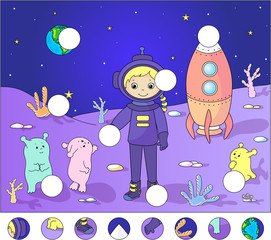 Astronaut with aliens on the surface of Moon. complete the puzzl