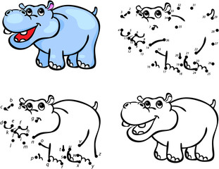 Cartoon hippo. Vector illustration. Coloring and dot to dot game