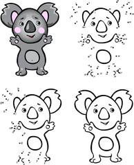 Cartoon koala. Vector illustration. Coloring and dot to dot game