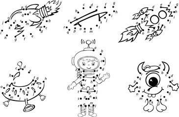 Cartoon astronaut, alien, rockets and planets. Vector illustrati