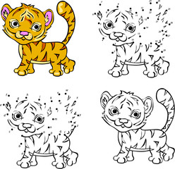 Cartoon tiger. Vector illustration. Coloring and dot to dot game