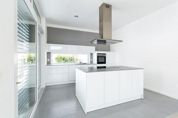 Interior of white kitchen