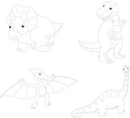 Set of diplodocus, tyrannosaur, pterodactyl and triceratops. Dot