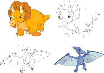Cartoon Triceratops and pterodactyl. Vector illustration. Dot to