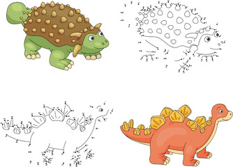 Cartoon ankylosaurus and stegosaurus. Vector illustration. Dot t