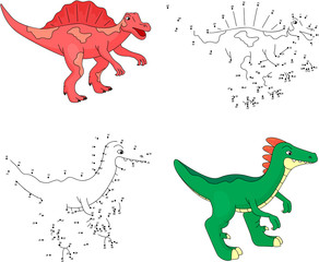 Cartoon spinosaurus and parasaurolophus. Vector illustration. Do
