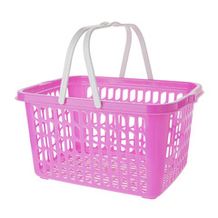 Empty pink plastic shopping basket on white background
