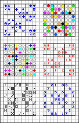 Educational page on a square paper for children with set of Sudoku puzzles. Developing skills for counting and drawing. Vector image.