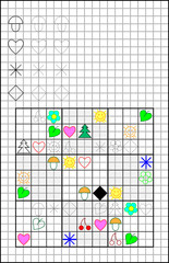 Educational page on a square paper with logic Sudoku puzzle. Developing skills for counting and drawing. Vector image.