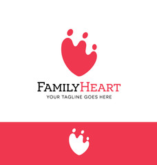 logo design for charity, organization or family related business. Heart shaped family icon