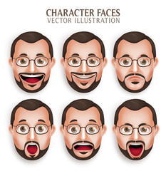 Set of 3D Realistic Old Beard Man Head with Different Facial Expression Isolated in White Background. Vector Illustration