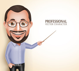 3D Realistic Professional Old Professor Teacher Man Vector Character Speaking Pointing Blank Space for Message Isolated in White Background. Vector Illustration