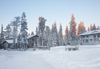 Cottages in a snow covered forest in sunrise in Ruka village in Finnish Lapland