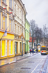 Small Tourist Bus in Pilies Street in the Old Town of Vilnius