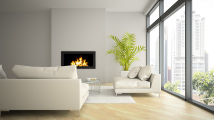 Interior of modern  loft with fireplace and palm 3D rendering 2
